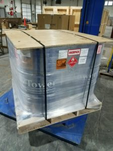 dg overpack with skid and labeling